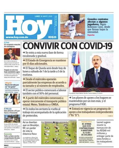 Portada Periódico Hoy, Lunes 18 de Mayo, 2020