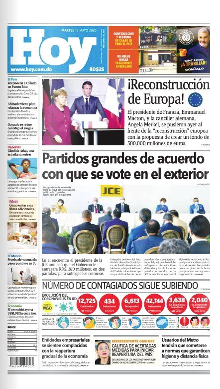 Portada Periódico Hoy, Martes 19 de Mayo, 2020