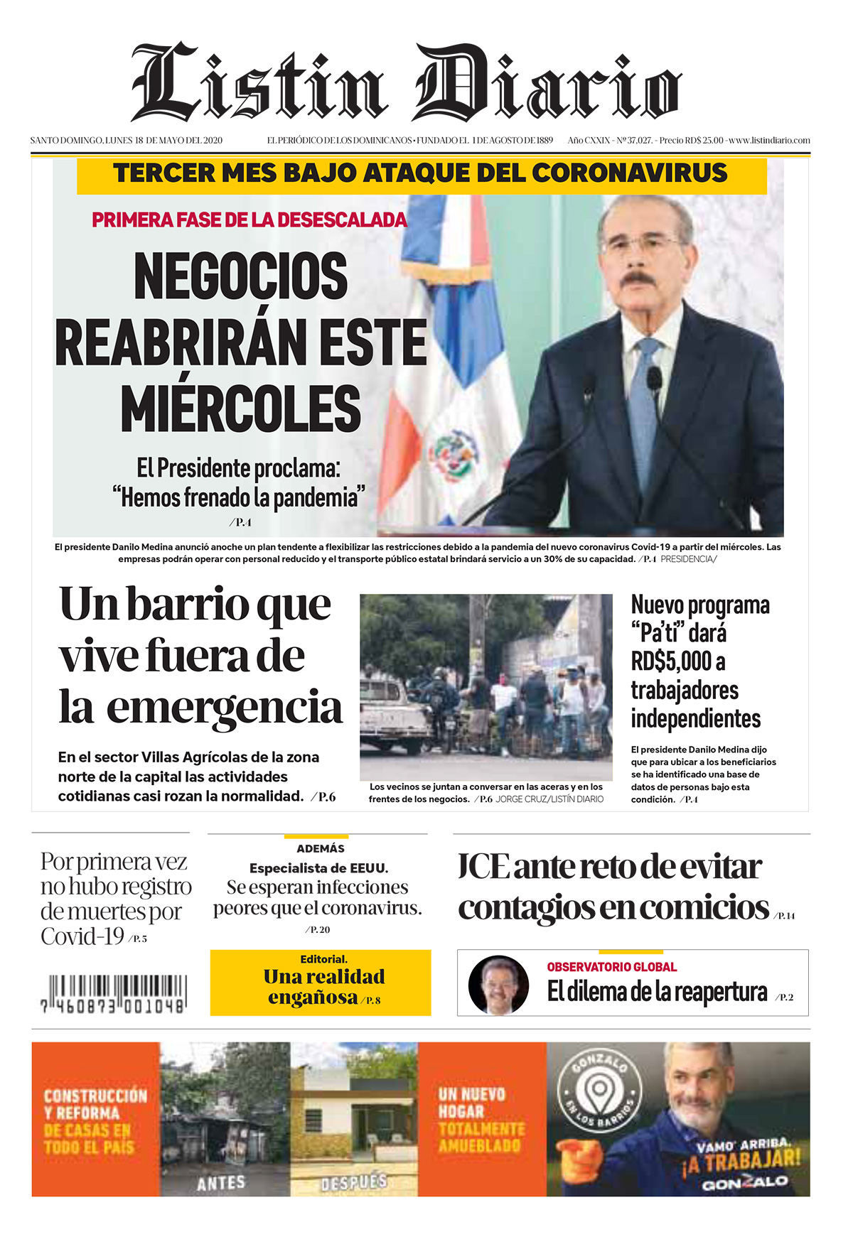 Portada Periódico Listín Diario, Lunes 18 de Mayo, 2020