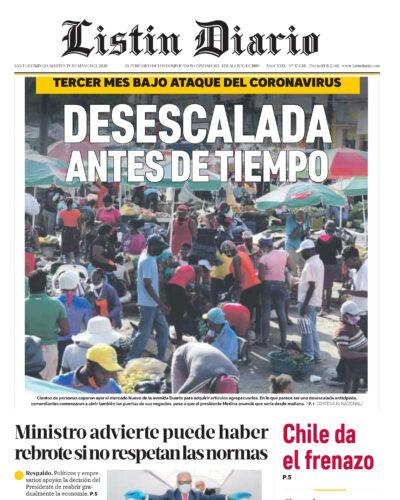 Portada Periódico Listín Diario, Martes 19 de Mayo, 2020