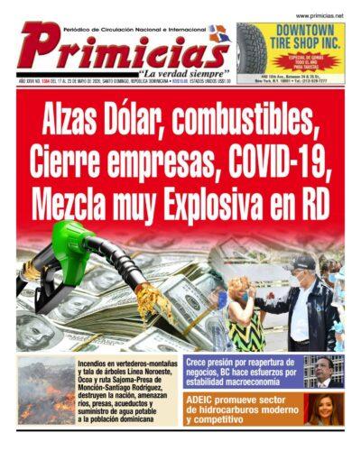 Portada Periódico Primicias, Lunes 18 de Mayo, 2020