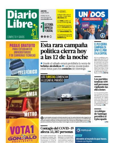 Portada Periódico Diario Libre, Jueves 02 de Julio, 2020