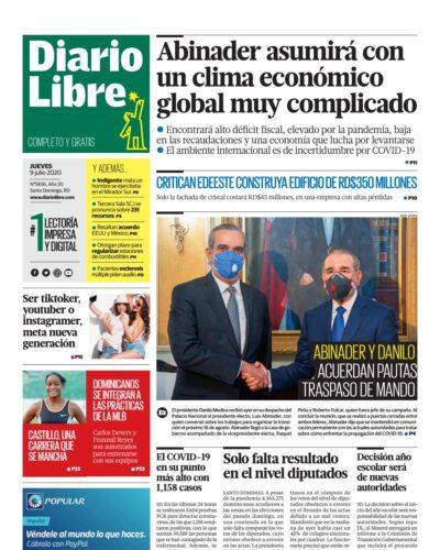 Portada Periódico Diario Libre, Jueves 09 de Julio, 2020