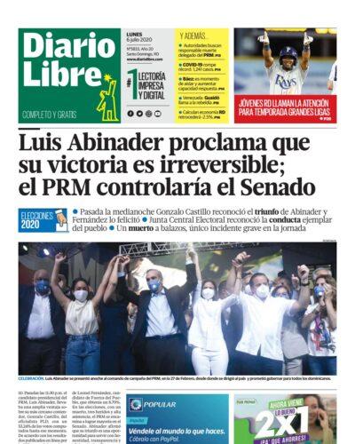 Portada Periódico Diario Libre, Lunes 06 de Julio, 2020