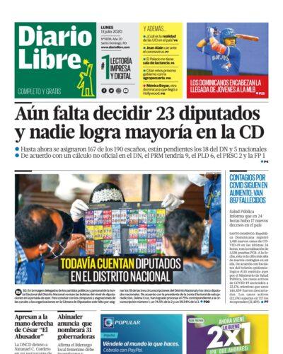 Portada Periódico Diario Libre, Lunes 13 de Julio, 2020