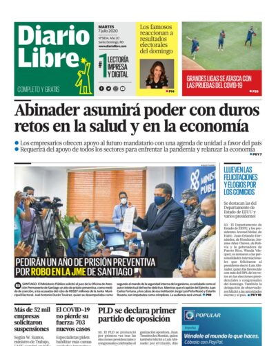 Portada Periódico Diario Libre, Martes 07 de Julio, 2020
