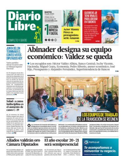 Portada Periódico Diario Libre, Martes 14 de Julio, 2020