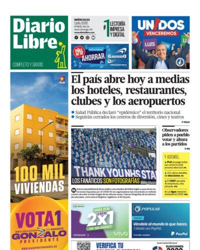 Portada Periódico Diario Libre, Miércoles 01 de Julio, 2020