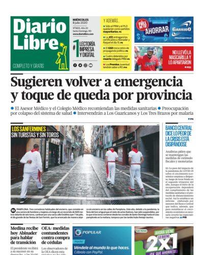 Portada Periódico Diario Libre, Miércoles 08 de Julio, 2020