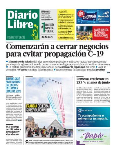 Portada Periódico Diario Libre, Miércoles 15 de Julio, 2020