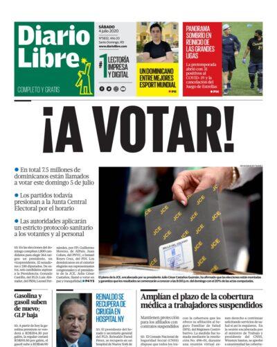 Portada Periódico Diario Libre, Sábado 04 de Julio, 2020