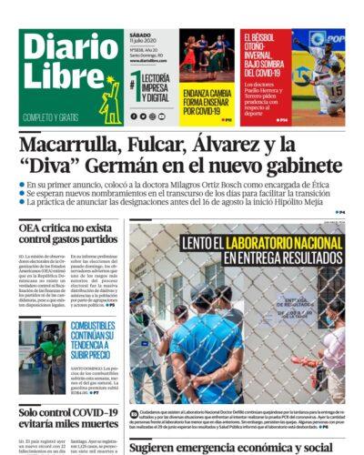 Portada Periódico Diario Libre, Sábado 11 de Julio, 2020