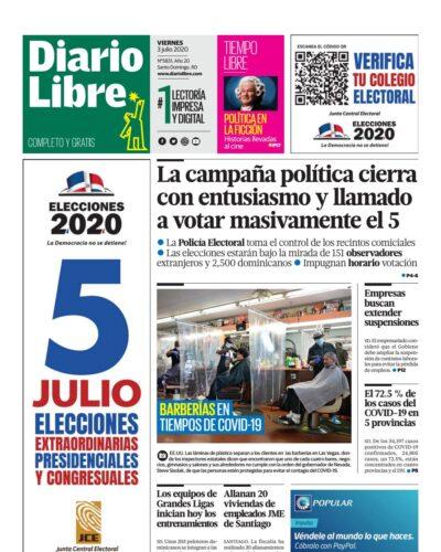 Portada Periódico Diario Libre, Viernes 03 de Julio, 2020