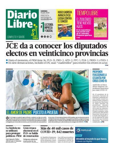 Portada Periódico Diario Libre, Viernes 10 de Julio, 2020