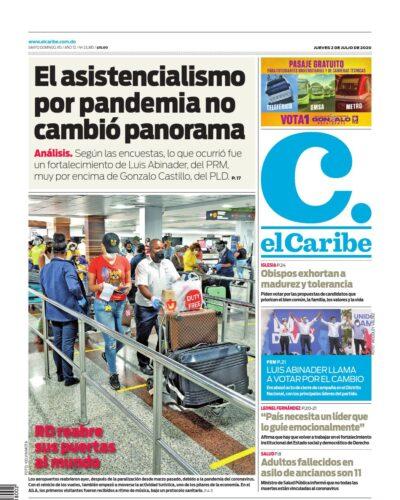 Portada Periódico El Caribe, Jueves 02 de Julio, 2020