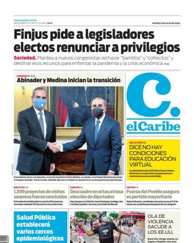 Portada Periódico El Caribe, Jueves 09 de Julio, 2020