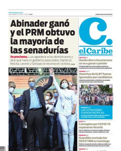 Portada Periódico El Caribe, Lunes 06 de Julio, 2020