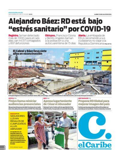 Portada Periódico El Caribe, Lunes 13 de Julio, 2020