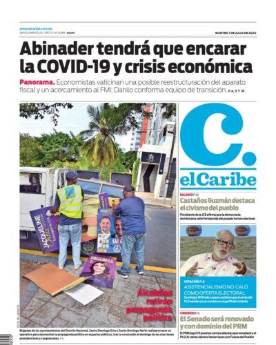 Portada Periódico El Caribe, Martes 07 de Julio, 2020