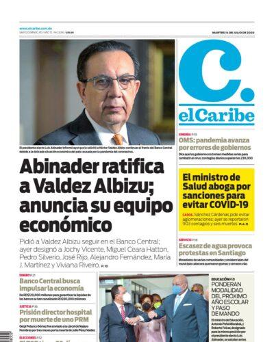 Portada Periódico El Caribe, Martes 14 de Julio, 2020