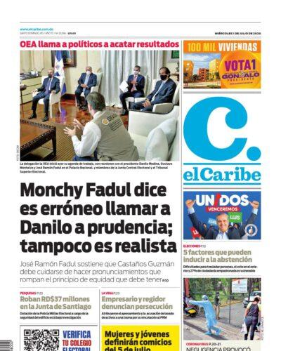 Portada Periódico El Caribe, Miércoles 01 de Julio, 2020