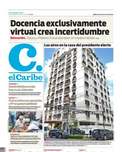 Portada Periódico El Caribe, Miércoles 08 de Julio, 2020