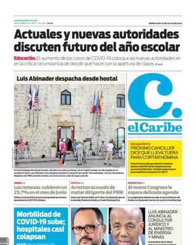 Portada Periódico El Caribe, Miércoles 15 de Julio, 2020