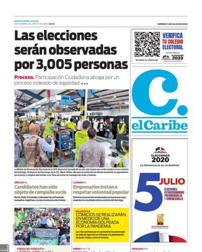 Portada Periódico El Caribe, Viernes 03 de Julio, 2020