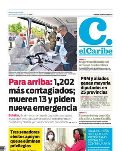 Portada Periódico El Caribe, Viernes 10 de Julio, 2020