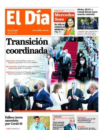 Portada Periódico El Día, Jueves 09 de Julio, 2020