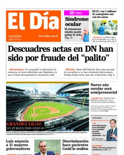 Portada Periódico El Día, Lunes 13 de Julio, 2020