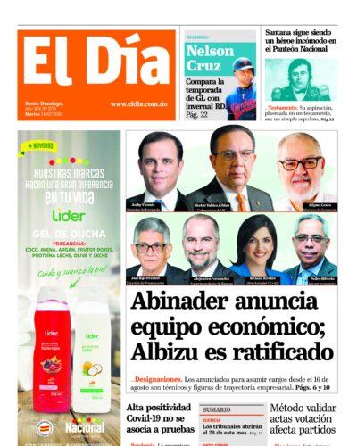 Portada Periódico El Día, Martes 14 de Julio, 2020