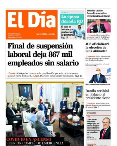 Portada Periódico El Día, Miércoles 08 de Julio, 2020