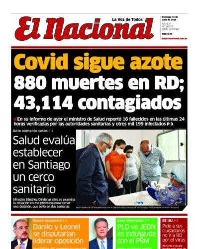 Portada Periódico El Nacional, Domingo 12 de Julio, 2020