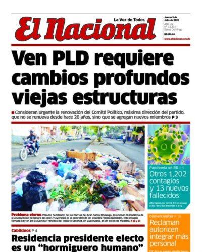 Portada Periódico El Nacional, Jueves 09 de Julio, 2020