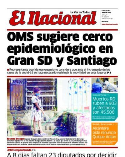 Portada Periódico El Nacional, Lunes 13 de Julio, 2020