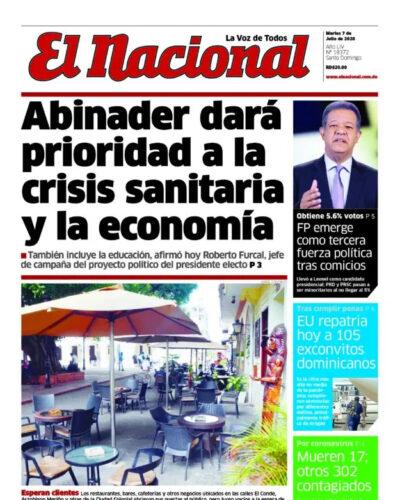 Portada Periódico El Nacional, Martes 07 de Julio, 2020