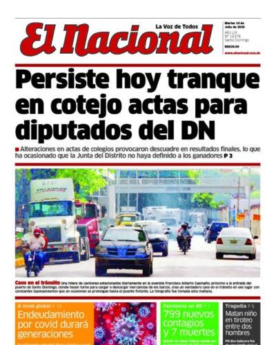 Portada Periódico El Nacional, Martes 14 de Julio, 2020