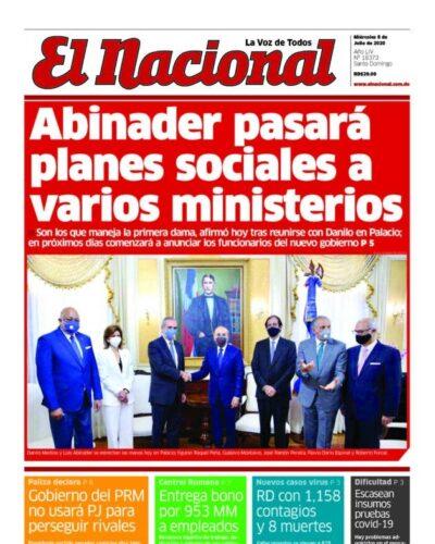 Portada Periódico El Nacional, Miércoles 08 de Julio, 2020
