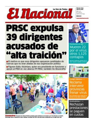 Portada Periódico El Nacional, Viernes 10 de Julio, 2020