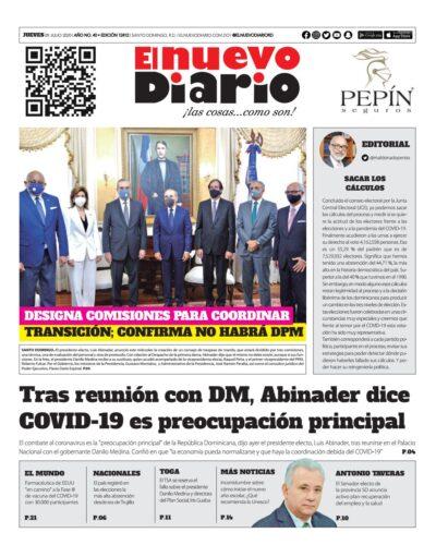 Portada Periódico El Nuevo Diario, Jueves 09 de Julio, 2020