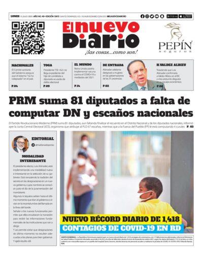 Portada Periódico El Nuevo Diario, Lunes 13 de Julio, 2020