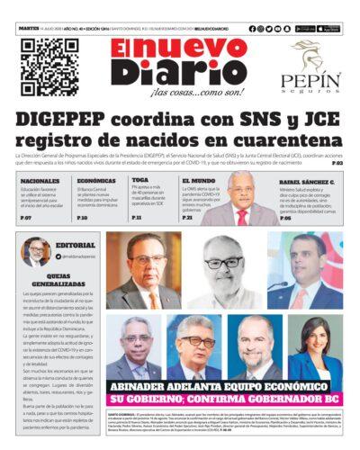 Portada Periódico El Nuevo Diario, Martes 14 de Julio, 2020