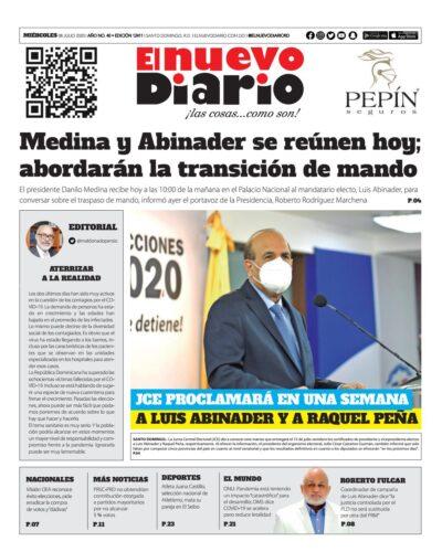 Portada Periódico El Nuevo Diario, Miércoles 08 de Julio, 2020
