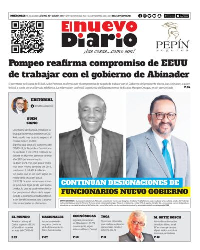 Portada Periódico El Nuevo Diario, Miércoles 15 de Julio, 2020