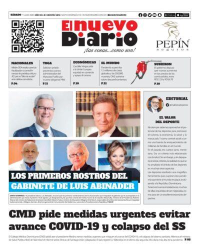 Portada Periódico El Nuevo Diario, Sábado 11 de Julio, 2020