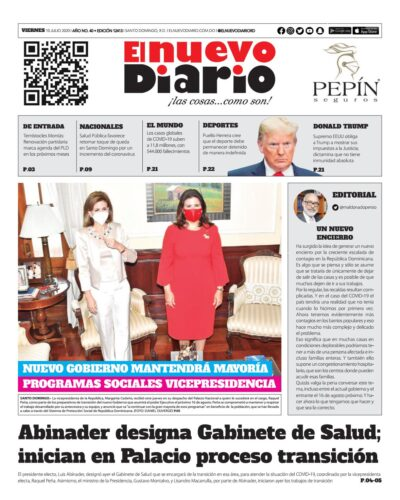 Portada Periódico El Nuevo Diario, Viernes 10 de Julio, 2020