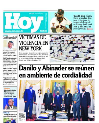 Portada Periódico Hoy, Jueves 09 de Julio, 2020