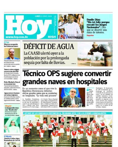 Portada Periódico Hoy, Lunes 13 de Julio, 2020