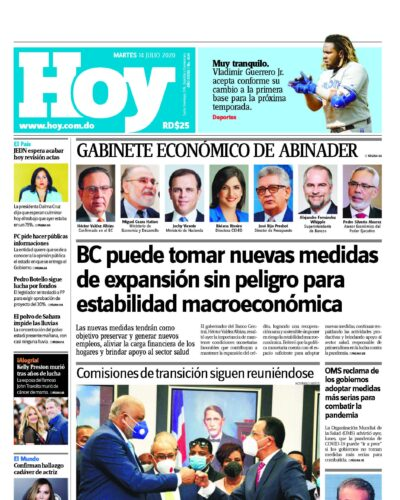 Portada Periódico Hoy, Martes 14 de Julio, 2020